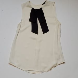Theory Creme silk Top with tie Small Career